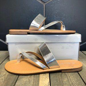 Womens Krush Toe Post Sandals Silver Size 10
